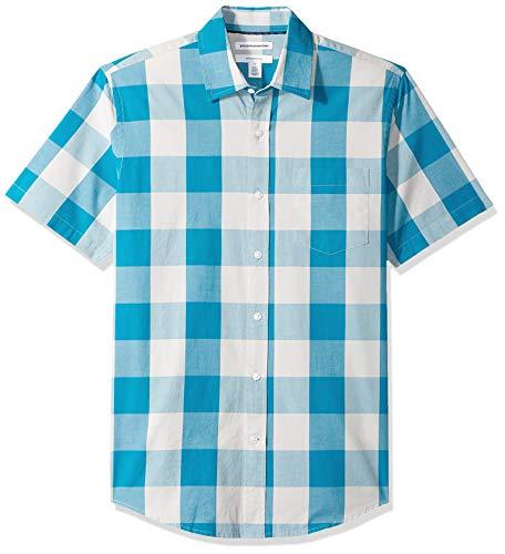 Amazon Essentials Slim-Fit Short-Sleeve Check Shirt Buttondown-Hemd, Teal Buffalo, US M (EU M) Teal Buffalo