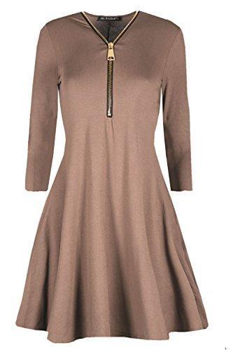Damen Ausgestellt Franki Gelbgolden Reißverschluss Vorne Kleid Damen Eine Linie Swing Skaterkleid Mokka