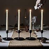 Lights4fun - TruGlow® Set di 4 Candele Sottile LED a Pile in Cera Bianca con Stoppino e Fiamma Realistica con Telecomando