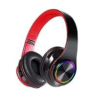 Amshine Wireless Stereo Headset | Bluetooth 5.0 Earphones Over Ear Headphones Built-in Mic, Noise Cancelling Headphone (Black Red)
