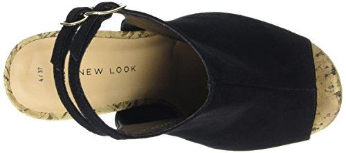 New Look - Wide Foot Perry, Sandali Donna col plateau e tacco Nero (Black (01/Black))