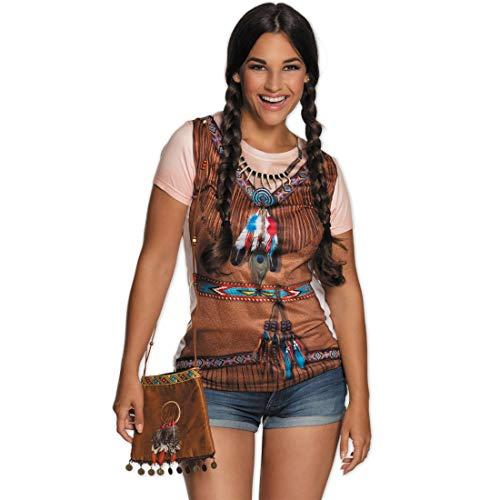 NET TOYS Indianer-Tasche mit Federschmuck   21 cm in braun   Originelles Damen-Kostüm-Zubehör Umhängetasche Squaw   Perfekt geeignet für Fasching & Karneval