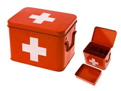 PT Medicine Medizin, Aufbewahrungsbox, Box, Medikanmentenbox, Blech, Rot, Medium