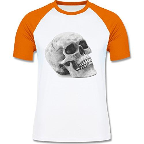 Piraten & Totenkopf - Totenkopf Skull - zweifarbiges Baseballshirt für Männer Weiß/Orange