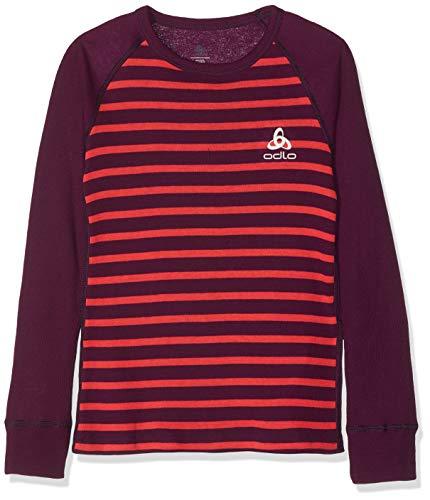 Odlo Kinder SUW TOP Crew Neck l/s Active Originals K Unterhemd, Pickled Beet - Hibiscus - Stripes, 116 -