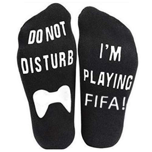 Price comparison product image Toamen Do Not Disturb,  I'm Playing FIFA! Novelty Funny Ankle Socks Christmas Sale Clearance Men Women Unisex Letter Funny Mid Calf High Socks,  Great Gift For Game Lovers