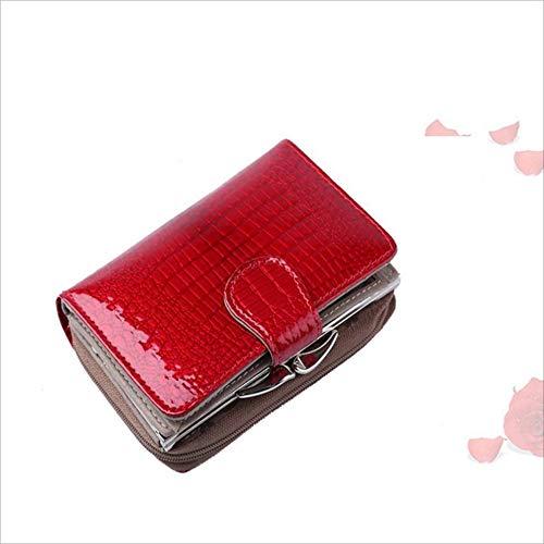 Jeffrey godwin portafoglio corto da donna in pelle portafoglio multi-card in pelle verniciata con cerniera fibbia portafoglio donna portafoglio fashion borsa (colore : rosso)