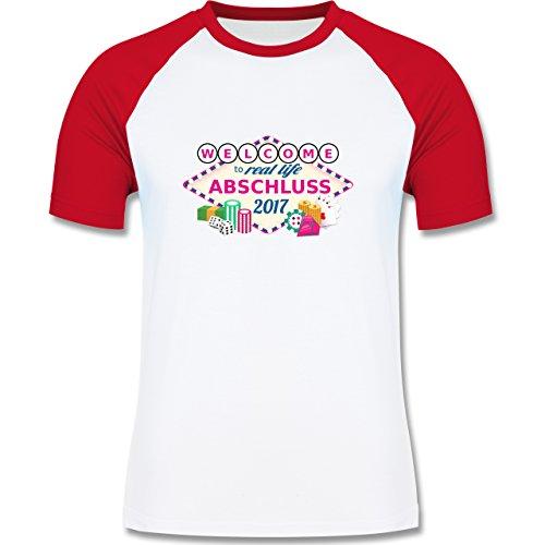 Abi & Abschluss - Abschluss 2017 - Welcome to real life - zweifarbiges Baseballshirt für Männer Weiß/Rot