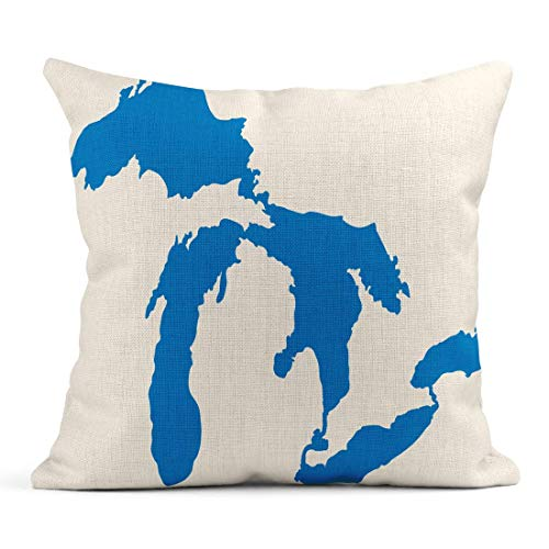 Zierkissenbezüge, Throw Pillow Covers, Decor Flax Case Map Great Lakes Silhouettes Michigan America Erie Geography Huron Laurentian North 18