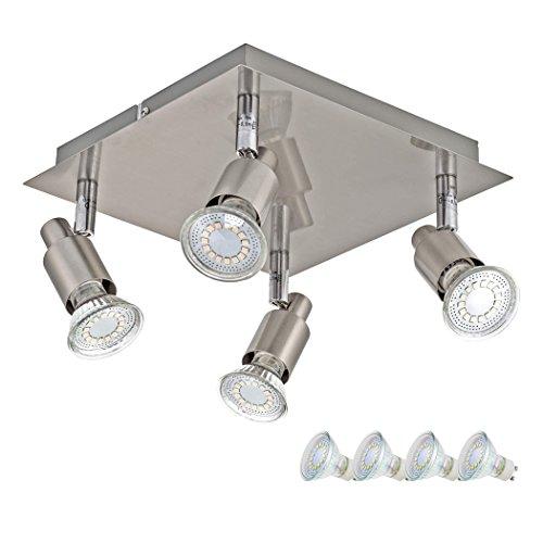 SEBSON® Plafonnier 4 Spots inkl. GU10 Ampoule LED 3,5W (remplace 30W), blanc chaud, 300lm