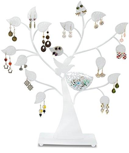 Schmuckständer im Baum Design - Weiß 44 x 37 x 8 cm - Ohrring Schmuckhalter Aufbewahrung & Präsentation - Grinscard