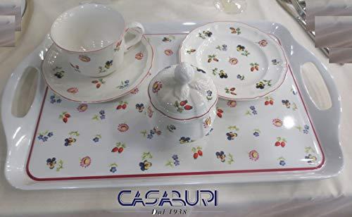 Villeroy boch . petite fleur colazione set x 4 10 pezzi (4 tazze colazioni + 4 piattini cm 17 + zuccheriera vassoio melanina)