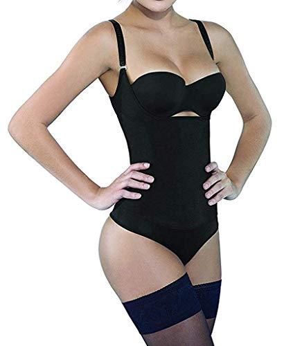 Camellias Damen Shapewear Nahtlos Offene Büste Formende Bodysuit mit Haken Ösen Taillenformer Figurformender Body Shaper Schwarz&Beige, UK-SZ7095-Black-XL - Firma Fit Strumpfhosen
