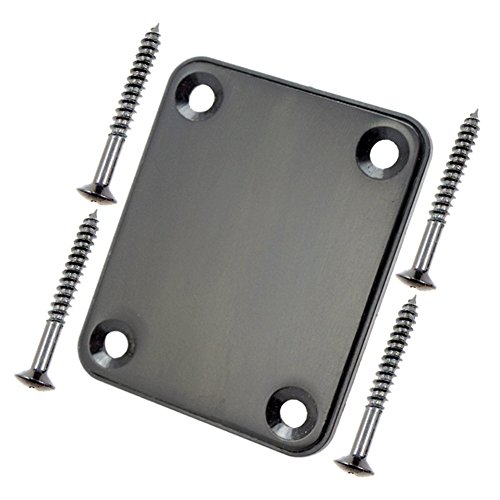 wandic E-Gitarre Hals Platte mit Schrauben für Strat Tele Gitarre Precision Jazz Bass Ersatz type 1 schwarz 1 -