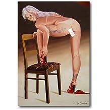 Erótico Pintura Pintura al óleo Bella Mujer desnuda con tatuaje en el lado Po handgemalt de imágenes Original Pintura al óleo