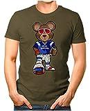 OM3® - New-England-Bear - T-Shirt | Herren | American Football Shirt | Super Bowl 53 LIII | NFL | S, Oliv
