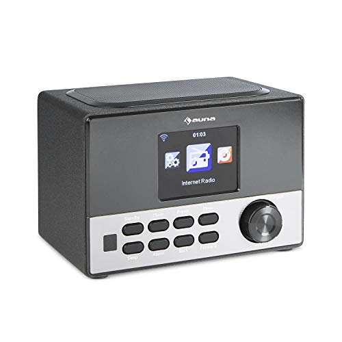 auna Connect 90 BK - Internetradio, Digitalradio, WLAN-Radio, AUX, USB-Slot, Wecker, Farbdisplay, App Control, schwarz