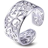 VIKI LYNN Sterling Silver Toe Rings Fine Adjustable Toe Ring Vintage Hollow Rings Foot Beach Jewelry