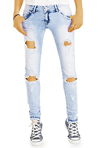 bestyledberlin Damen Slim Fit Jeans, Ausgefallene Acid Wash Röhrenjeans, Destroyed Style Hüftjeans j71f-1 34/XS (Wash Jeans Acid)