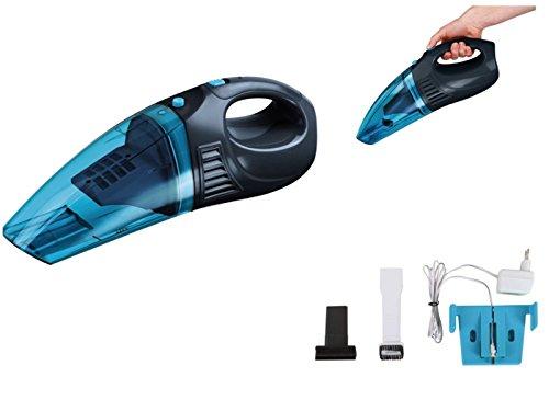 Handstaubsauger für Nasse und Trockene Flächen Hand-Sauger Mini-Staubsauger Akku-Sauger (Kabellos, Beutellos, Wandhalterung, Nass-Sauger, Blau)