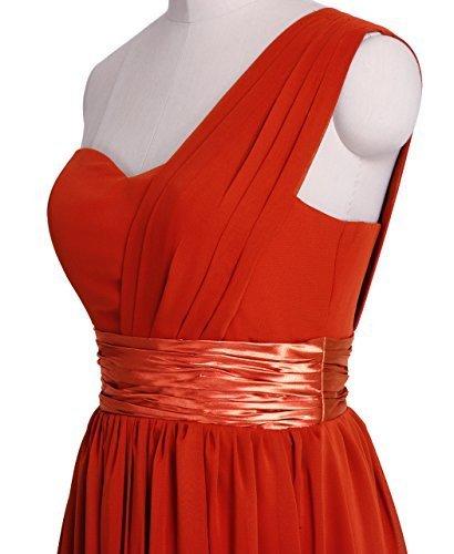 FAIRY COUPLE Robe de Soirée Une Epaule en Mousseline de Soie Simple et Elegante D0126 Rouge