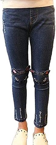 Niñas Jeans Chicas Vaqueros Patrón De Gato Flacos Leggings Mezclilla Pantalones Jeggings