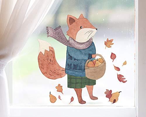 TinyFoxes Fensterbild Fuchs auf Wanderschaft - Selbsthaftend und Wiederverwendbare Kinderzimmerdeko
