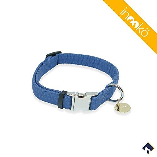 inooko - Original verstellbares Halsband, Heide blau, sehr widerstandsfähig, Größe: S (27 bis 41 cm), Blau, Für Hunde