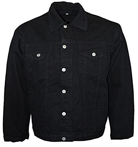 Aztec New Mens Aztec Jeans Designer Long Sleeved Collared Classic Denim Jacket Heavy Duty Coat Vintage Retro Scooter Casual Black 3X-Large