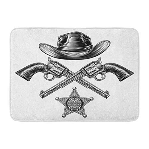 Bad Matte Cowboyhut Sheriffs Star Badge Paar gekreuzte Pistolen in Vintage Retro Holzschnitt geätzt Badezimmer Dekor Teppich gezeichnet -