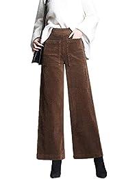 Dazosue Pantalones Casuales De Pana Cintura Elástica Pierna Ancha  Pantalones De Mujer e2557eeefe1f