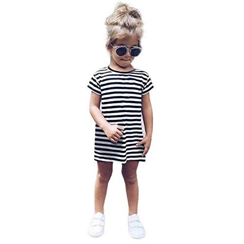 LHWY Kinder Mädchen Kleider Kleinkind-Baby-Kind-Mädchen-Bluse Tops Beiläufige Kurze Hülse Partei Gestreifte Prinzessin Kleidet Kleidung Schwarz