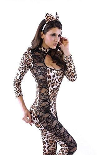 Lukis 2pc Leopard Transparenter Einteiler Helloween Karneval Kostüm Damenkostüm