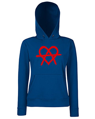 T-Shirtshock - Sweats a capuche Femme FUN0570 anarchy heart womens tshirt Bleu Navy