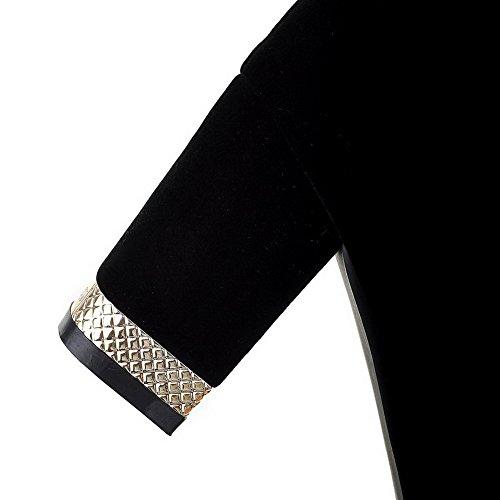 VogueZone009 Donna Pelle Di Mucca Alta Altezza Puro Cerniera Tacco Alto Stivali Nero