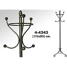 Exclusivas Camacho - Perchero de pie de forja de 3 brazos y 6 ganchos en color negro con patina de oro