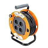 TM Electron TMUAD225 - Cable de alimentación en Bobina Enrollable de 25 Metros con 4 Tomas, Color Naranja