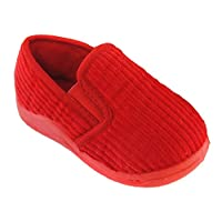 Childs / Toddler Cord Slippers Sizes UK4 - UK10 (UK 10 (Euro 28), Red)