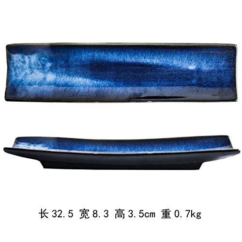 CZDXM Vajilla de Estilo Coreano Plato de Sushi Plato de Sashimi Plato de cerámica Japonesa Plato Largo Restaurante 12.8 Pulgadas Plato de Sushi de bambú Azul Profundo