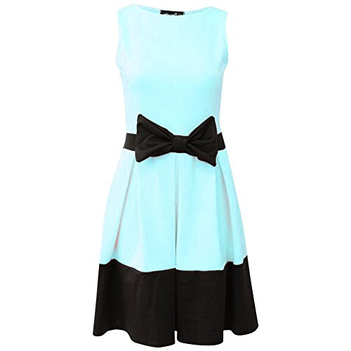 janisramone Damen Neu Ärmellos Krawatte Schleife Detail Skater Damen  Kontrast Panel Plissee Flared Mini Kleid Aqua