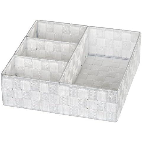 WENKO 20981100 Contenitore Adria bianco - 4 compartimenti, Polipropilenica, 32 x 10 x 32 cm, Bianco