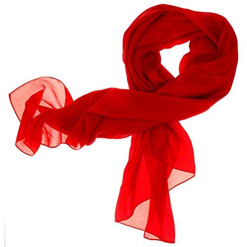 DOLCE ABBRACCIO by RiemTEX Lady Sunshine Damen Seidenschal XXL Schal Halstuch Tuch Stola aus feinstem Chiffon mit Seide (Rot)
