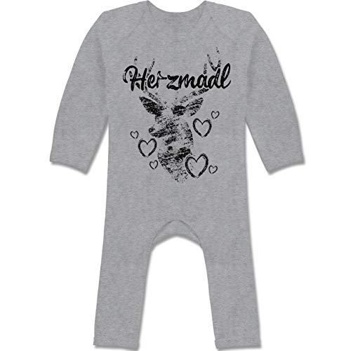 Shirtracer Oktoberfest Baby - Herzmadl mit Hirsch und Herzen - schwarz - 12-18 Monate - Grau meliert - BZ13 - Baby-Body Langarm für Jungen und Mädchen