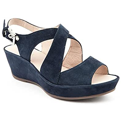 4e1c217793cc8 Ladies Jones Bootmaker Kenna Navy Suede Wedge Sandals Size 8  Amazon ...