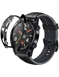 Kompatibel mit Huawei Watch GT/46mm Displayschutz, Nourich Abdeckung TPU Hülle Ultradünne Weiche Schutz Schutzfolie Schutzhülle Displayschutzfolie Schutzrahmen (Schwarz (GT 46mm))