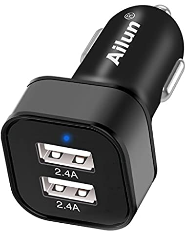 Car Charger,Dual Smart USB Ports,4.8A/24W,Universal Adapter for Mobile Device,iPhone 7