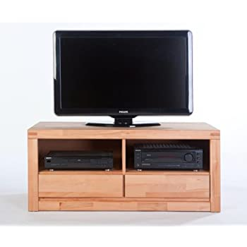 TV-Lowboard L Kernbuche massiv geölt mit 2 Schubkästen: Amazon.de ...