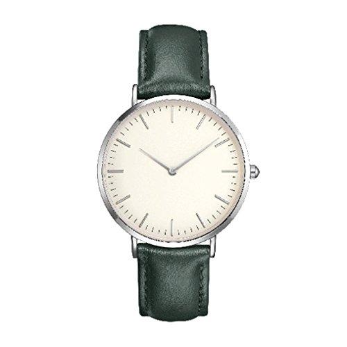 Upxiang Frauen / Männer Quarz Analoge Uhr Mode Einfache Leder Uhr Lässige Einfache Band Armbanduhren Geschenke Geburtstagsgeschenk Reise (Grün)