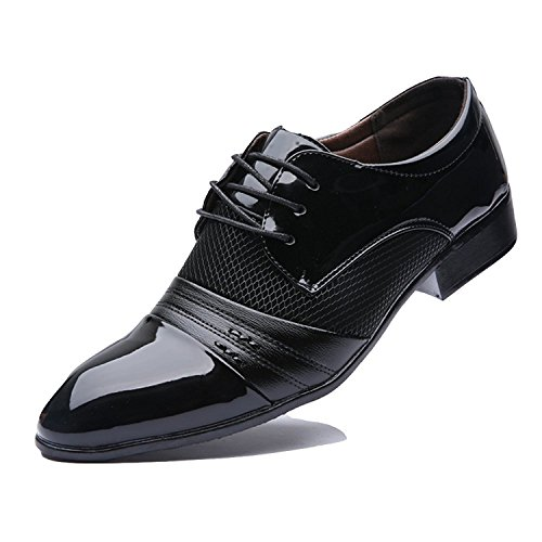 Blivener Men's Casual Pointed Toe Oxford Lace Up Business Shoes Black UK6.5/EU40