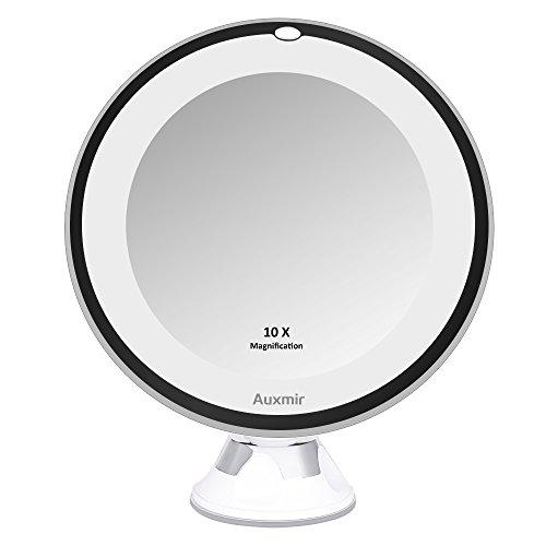 Auxmir Kosmetikspiegel LED mit Licht, 10X Vergrößerung, 16,5CM Spiegelfläche und Saugnapf, 360°...